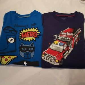 Lot of 2 - Boys Mock Layered Long Sleeve Tees